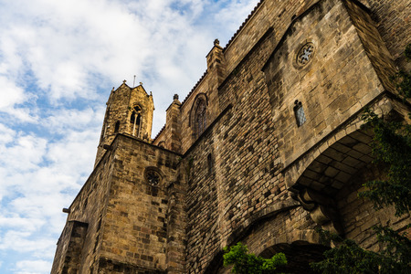 Gothic castle walls in Barcelona, Spain.