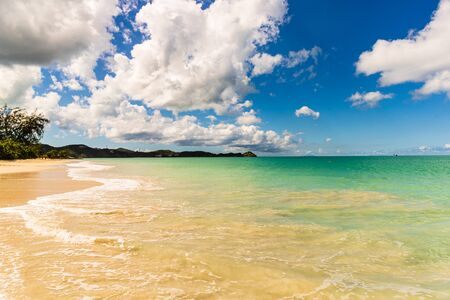 Idyllic beach in St. John's, Antigua and Barbuda, a country located in the West Indies in the Caribbean Sea. Stock Photo