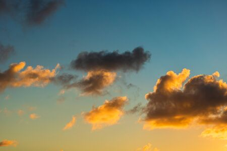 Beautiful sunset sky and clouds with dramatic light.