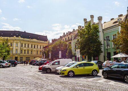 Sibiu, Romania - 2019. Parking lots on the streets of Sibiu.