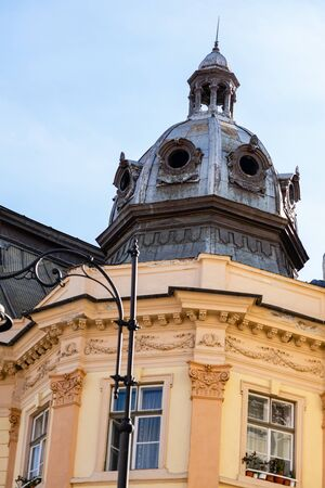 Medieval architecture in the old town, Sibiu – Romania. Stock Photo