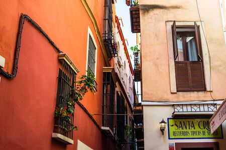 Seville, Spain – 2019. Characteristic streets with local shops in the city of Seville capital of Andalusia. Redakční