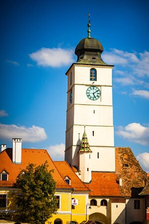 View of Council Tower in the old town, Sibiu.