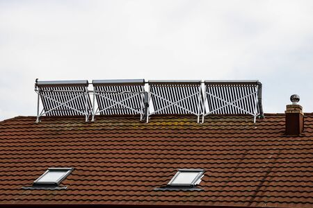 Solar water heater installed on a house roof