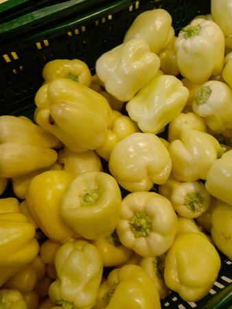 Yellow bell pepper rich vitamin healthy diet plant natural vegetable organic spice in supermarket shelf, farmer market Zdjęcie Seryjne