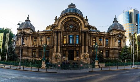 Bucharest historical building. Panoramic view of CEC Palace, landmark of Old Town Bucharest, Romania, 2019