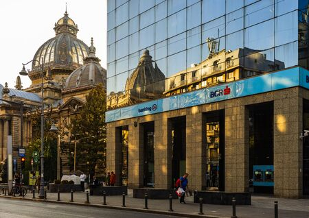 The BCR Headquarters building in downtown Bucharest, Romania, 2019 Redakční