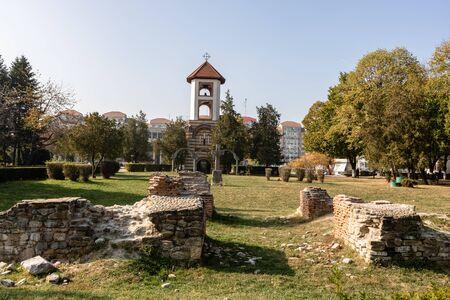 Metropolitan Orthodox Cathedral in Targoviste, Romania, 2019. Orthodox Church architecture. Ruins of the old Metropolitan Cathedral in foreground. Stock Photo