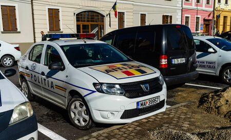 Romanian police car on the streets of Bucharest. Bucharest, Romania, 2019. 에디토리얼
