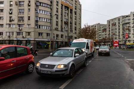 Morning rush hour, stopped cars and traffic on the main boulevard of Bucharest, Romania, 2019 에디토리얼