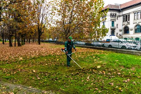 Man trimming fresh grass using brush cutter in Izvor Park in Bucharest, Romania, 2019
