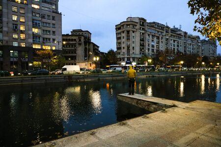 Dambovita River at down in downtown Bucharest, Romania, 2019