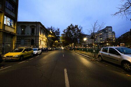 Empty street next to Dambovita River in downtown Bucharest, Romania, 2019 에디토리얼