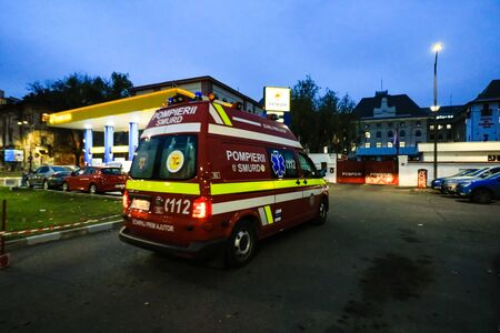 SMURD ambulance car entering in the firefighters garage in Bucharest, Romania, 2019