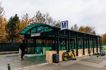 Izvor Metro station entrance in Bucharest, Romania, 2019