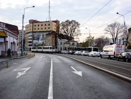 Car traffic at rush hour in downtown area. Bucharest, Romania, 2019. Stok Fotoğraf - 134758299