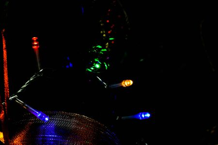 Christmas hanging decorations on fir tree. Decorated Christmas tree.  Fir branches with Christmas lights. Stok Fotoğraf - 134768597