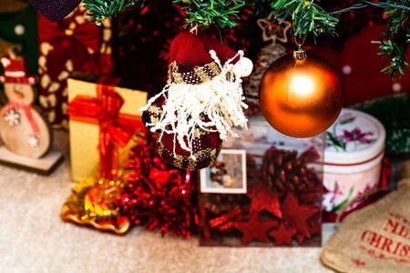 Christmas hanging decorations on fir tree. Decorated Christmas tree. Fir branch with Christmas decorations Stok Fotoğraf - 134768953