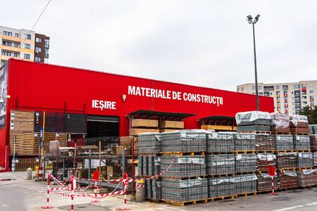 Brico Depot entrance and logo of the French chain of construction materials and decoration store in Bucharest, Romania, 2020 Editöryel