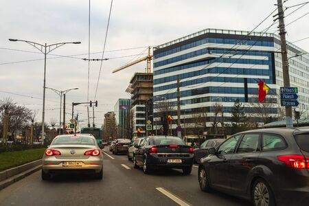 Bucharest rush hour at evening time. Car photo of the traffic in Bucharest, Romania, 2020