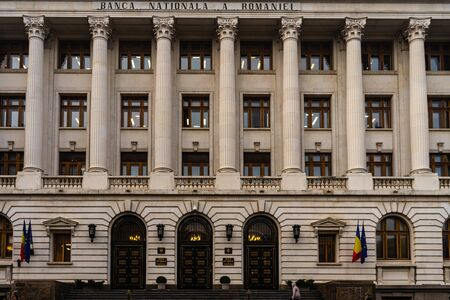 National bank of Romania (Banca Nationala a Romaniei). BNR is the Romanian Central bank. BNR headquarters in Bucharest, Romania, 2020