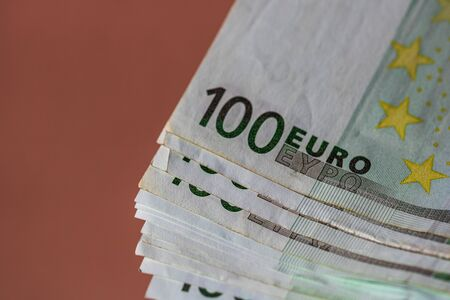World money concept, macro detailed on a 100 Euro banknote, macro photo of EURO currency Stok Fotoğraf