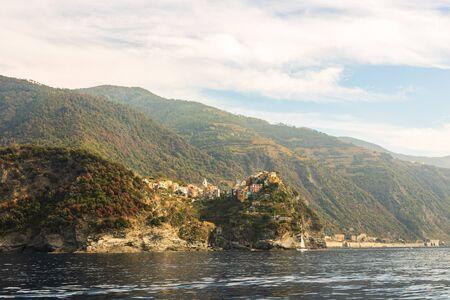 Picturesque scenic landscape view of Amalfi Coast, fishing village in Cinque Terre, Italy