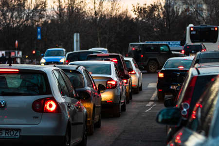 Car traffic at rush hour in downtown area of the city. Car pollution, traffic jam in the morning and evening in the capital city of Bucharest, Romania, 2020 Editorial