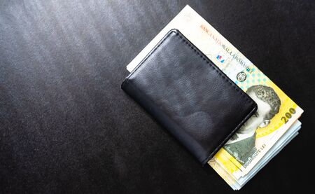 Man wallet with money on the table, wallet with LEI Foto de archivo