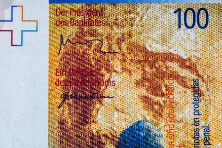 Close up macro detail of CHF money banknotes, detail photo of swiss franc. World money concept, inflation and economy concept