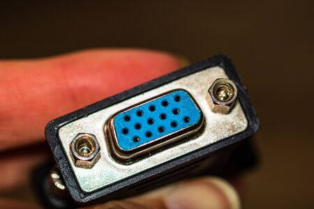 Close up of a cable VGA jack isolated.