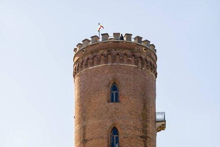 Close up of the Chindia Tower (Turnul Chindiei) in  Targoviste, Romania Stock Photo