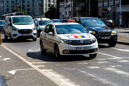 Romanian police (Politia) car patrolling streets of Old Town in downtown Bucharest, Romania, 2020 Editorial