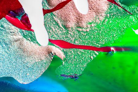 Abstract colorful backdrop with oil drops and waves on water surface. Abstract background concept