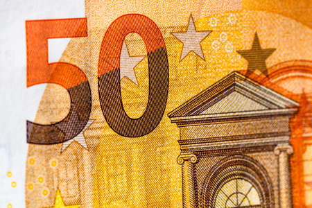 Selective focus on detail of euro banknotes. Close up macro detail of money banknotes, 50 euro isolated. World money concept, inflation and economy concept Imagens
