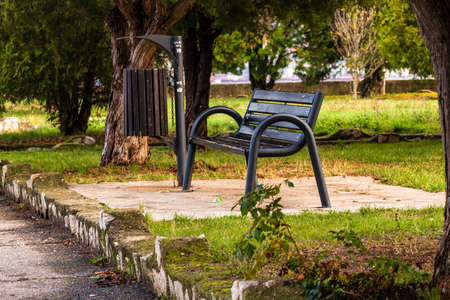 Isolated empty bench in a park on a sunny day. Imagens