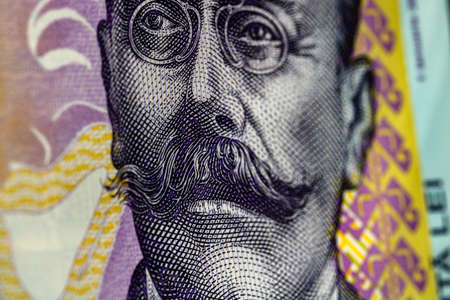 Selective focus on detail of lei banknotes. Close up macro detail of romanian lei banknotes, 100 lei isolated. World money concept, inflation and economy concept