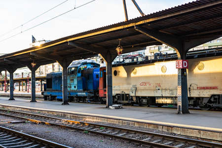 Changes and complications caused by coronavirus COVID-19 virus, world without crowds, empty train platform. No commuters, no travelers at the North Railway Station in Bucharest, Romania, 2020 Editorial