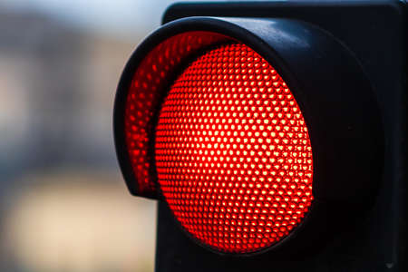 Traffic light with red light. Traffic light signal semaphore close up isolated. Фото со стока