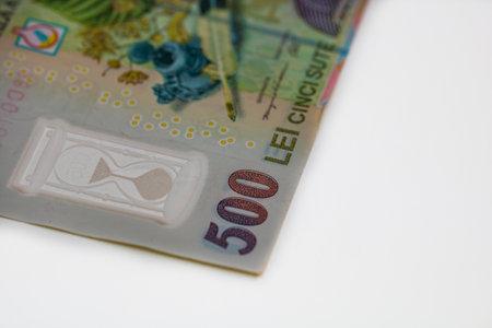 Selective focus on 500 LEI romanian money banknote.