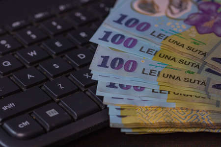 Lei banknotes on keyboard. Selective focus on stack of LEI romanian money. Stok Fotoğraf