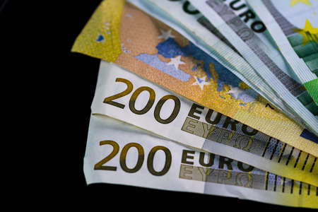 Selective focus on stack of EURO money. Euro banknotes isolated. Stok Fotoğraf