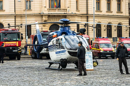 Romanian Police (Politia Romana) helicopter in front of the Home Office (Ministry of the Interior) in Bucharest, Romania, 2020. Coronavirus worldwide outbreak crisis. Spread of the COVID-19 virus
