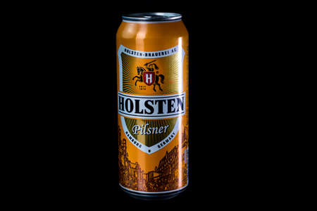 Holsten beer can isolated on black background. Bucharest, Romania, 2021 Editöryel