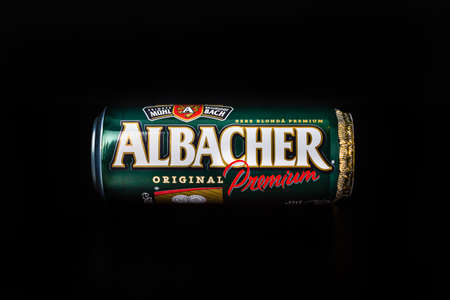 Albacher beer can isolated on black background. Bucharest, Romania, 2021 Editöryel