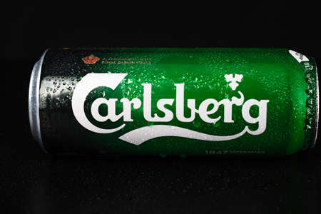 Carlsperg beer can isolated on black background. Bucharest, Romania, 2021 Editöryel