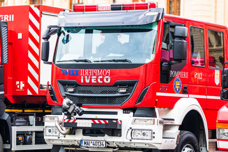 Romanian Firefighting emergency firemen (Pompierii) parked in front of the Home Office (Ministry of the Interior) in Bucharest, Romania, 2020. Coronavirus worldwide outbreak crisis. Spread of the COVID-19 virus