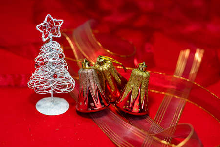 Christmas decoration, Christmas and New Year holidays background, winter season with Christmas ornaments and blurred lights