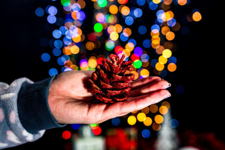 Holding Christmas pine cone decoration isolated on background with blurred lights. December season, Christmas composition.