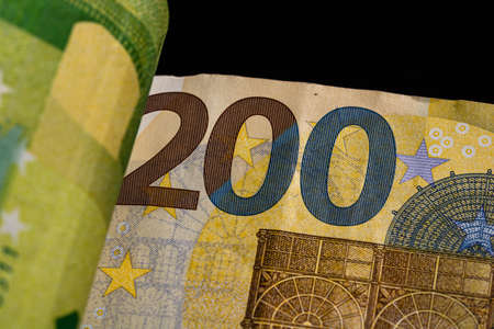 Detail of euro banknote, close up of euro money isolated.